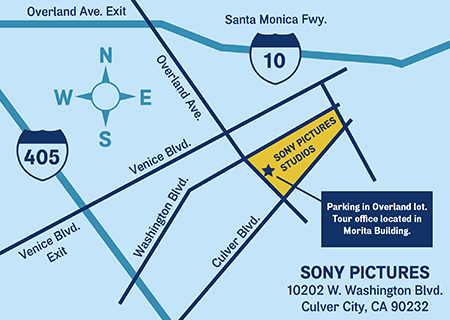 Sony Pictures map to the studio